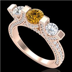 2.3 CTW Intense Fancy Yellow Diamond Micro Pave 3 Stone Ring 18K Rose Gold - REF-236V4Y - 37645