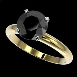2.59 CTW Fancy Black VS Diamond Solitaire Engagement Ring 10K Yellow Gold - REF-64H7M - 36457