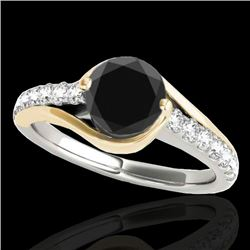 1.25 CTW Certified VS Black Diamond Solitaire Ring 10K White & Yellow Gold - REF-62R9K - 35552