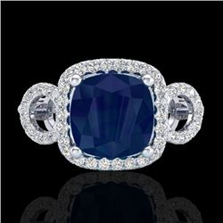 3.15 CTW Sapphire & Micro VS/SI Diamond Certified Ring 18K White Gold - REF-76H9M - 23010