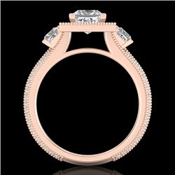 2.5 CTW Princess VS/SI Diamond Micro Pave 3 Stone Ring 18K Rose Gold - REF-527K3W - 37197