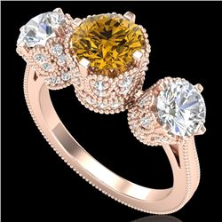 3.06 CTW Intense Fancy Yellow Diamond Art Deco 3 Stone Ring 18K Rose Gold - REF-390Y9X - 37393