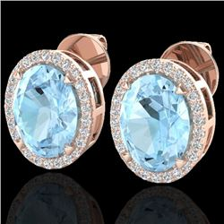 5.50 CTW Aquamarine & Micro VS/SI Diamond Halo Earrings 14K Rose Gold - REF-88H7M - 20239