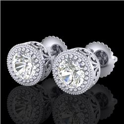 1.09 CTW VS/SI Diamond Solitaire Art Deco Stud Earrings 18K White Gold - REF-202F7N - 36887