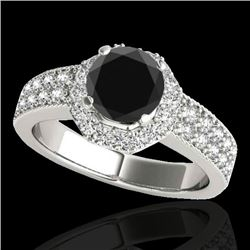 1.40 CTW Certified VS Black Diamond Solitaire Halo Ring 10K White Gold - REF-74M4F - 34552