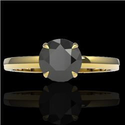 2 CTW Black VS/SI Diamond Designer Inspired Engagement Ring 18K Yellow Gold - REF-64M2F - 22216
