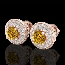 2.35 CTW Intense Fancy Yellow Diamond Art Deco Stud Earrings 18K Rose Gold - REF-236R4K - 38135