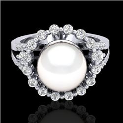 0.83 Ct Micro Pave VS/SI Diamond Certified & Pearl Halo Ring 18K White Gold - REF-85N6A - 20706