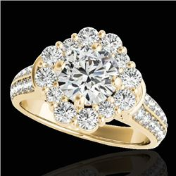 2.81 CTW H-SI/I Certified Diamond Solitaire Halo Ring 10K Yellow Gold - REF-409A3V - 33960
