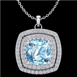 2.08 CTW Sky Blue Topaz & Micro Pave VS/SI Diamond Halo Necklace 18K White Gold - REF-63N3A - 20449