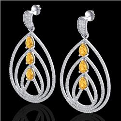 4 CTW Citrine & Micro Pave VS/SI Diamond Certified Earrings 18K White Gold - REF-307K3W - 22452