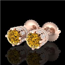 1.75 CTW Intense Fancy Yellow Diamond Art Deco Stud Earrings 18K Rose Gold - REF-172V7Y - 37358