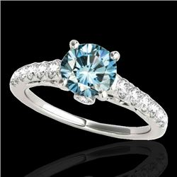 1.75 CTW SI Certified Fancy Blue Diamond Solitaire Ring 10K White Gold - REF-236R4K - 34994