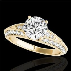 1.58 CTW H-SI/I Certified Diamond Solitaire Antique Ring 10K Yellow Gold - REF-172W7H - 34623
