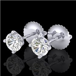 0.65 CTW VS/SI Diamond Solitaire Art Deco Stud Earrings 18K White Gold - REF-97A3V - 37295
