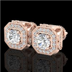 2.75 CTW VS/SI Diamond Solitaire Art Deco Stud Earrings 18K Rose Gold - REF-472Y7X - 37323