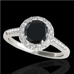 1.50 CTW Certified VS Black Diamond Solitaire Halo Ring 10K White Gold - REF-72Y7X - 33484