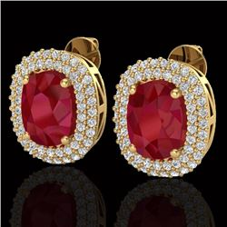 6.30 CTW Ruby & Micro Pave VS/SI Diamond Certified Halo Earrings 18K Yellow Gold - REF-160R9K - 2012