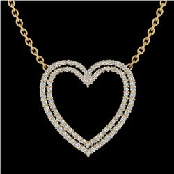 2 CTW VS/SI Diamond Double Heart Halo Designer Necklace 14K Yellow Gold - REF-134X7R - 20482