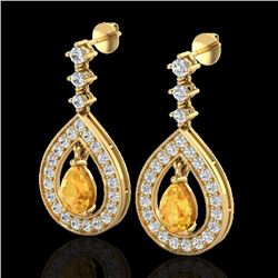 2.25 CTW Citrine & Micro Pave VS/SI Diamond Earrings Designer 14K Yellow Gold - REF-99N8A - 23150