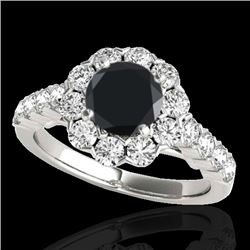 2.35 CTW Certified VS Black Diamond Solitaire Halo Ring 10K White Gold - REF-115Y3X - 33547