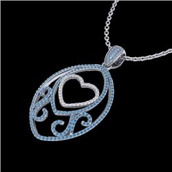1.75 CTW Blue & White Micro Pave VS/SI Diamond Heart Necklace 18K White Gold - REF-201Y5X - 22587