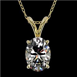 1 CTW Certified VS/SI Quality Oval Diamond Solitaire Necklace 10K Yellow Gold - REF-267W7H - 33194
