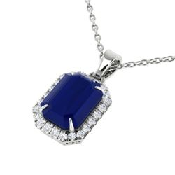 5.50 CTW Sapphire & Micro Pave VS/SI Diamond Halo Necklace 18K White Gold - REF-70N2A - 21367