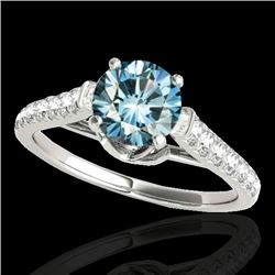 1.46 CTW SI Certified Fancy Blue Diamond Solitaire Ring 10K White Gold - REF-163R6K - 34966