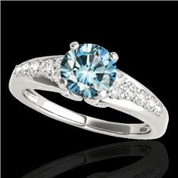 1.40 CTW SI Certified Fancy Blue Diamond Solitaire Ring 10K White Gold - REF-160Y2X - 35001