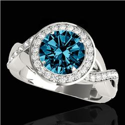 2 CTW SI Certified Fancy Blue Diamond Solitaire Halo Ring 10K White Gold - REF-241M5F - 33281
