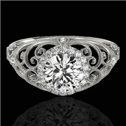1.22 CTW H-SI/I Certified Diamond Solitaire Halo Ring 10K White Gold - REF-236V4Y - 33778