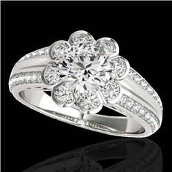 1.50 CTW H-SI/I Certified Diamond Solitaire Halo Ring 10K White Gold - REF-171X6R - 34468