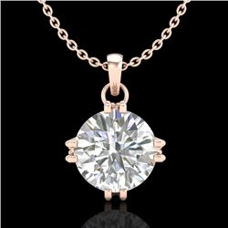 1 CTW VS/SI Diamond Solitaire Art Deco Stud Necklace 18K Rose Gold - REF-294V2Y - 36915