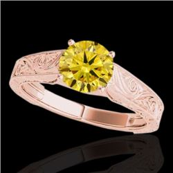 1 CTW Certified SI/I Fancy Intense Yellow Diamond Solitaire Ring 10K Rose Gold - REF-152X7R - 35190