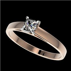 0.50 CTW Certified VS/SI Quality Princess Diamond Solitaire Ring 10K Rose Gold - REF-64H3M - 32966