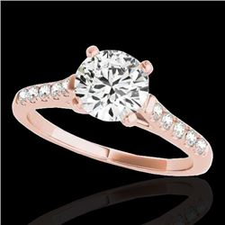 1.45 CTW H-SI/I Certified Diamond Solitaire Ring 10K Rose Gold - REF-163N5A - 34980