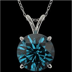 2.50 CTW Certified Intense Blue SI Diamond Solitaire Necklace 10K White Gold - REF-575K7W - 33246