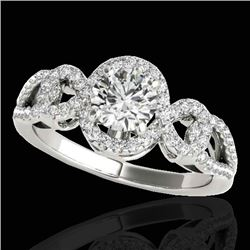 1.38 CTW H-SI/I Certified Diamond Solitaire Halo Ring 10K White Gold - REF-174F5N - 33918