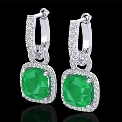 6 CTW Emerald & Micro Pave VS/SI Diamond Certified Earrings 18K White Gold - REF-125Y5X - 22961