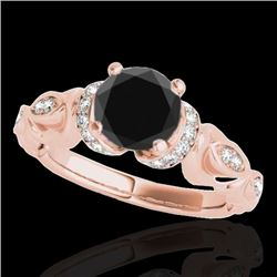 1.20 CTW Certified VS Black Diamond Solitaire Antique Ring 10K Rose Gold - REF-57N3A - 34679