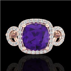 3.75 CTW Amethyst & Micro VS/SI Diamond Certified Ring 14K Rose Gold - REF-54H9M - 22996