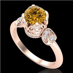 1.75 CTW Intense Fancy Yellow Diamond Engagement Art Deco Ring 18K Rose Gold - REF-236V4Y - 37407