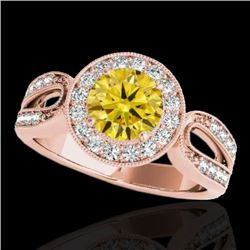 1.40 CTW Certified SI/I Fancy Intense Yellow Diamond Solitaire Halo Ring 10K Rose Gold - REF-180A2V