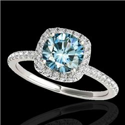 1.25 CTW SI Certified Fancy Blue Diamond Solitaire Halo Ring 10K White Gold - REF-172W7H - 33330