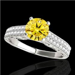 1.41 CTW Certified SI Intense Yellow Diamond Solitaire Antique Ring 10K White Gold - REF-176Y4X - 34