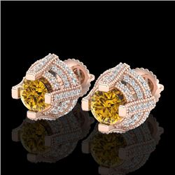 2.75 CTW Intense Fancy Yellow Diamond Micro Pave Stud Earrings 18K Rose Gold - REF-236H4M - 37631