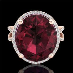 10 CTW Garnet & Micro Pave VS/SI Diamond Certified Halo Ring 14K Rose Gold - REF-66K7W - 20962