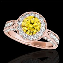 2 CTW Certified SI/I Fancy Intense Yellow Diamond Solitaire Halo Ring 10K Rose Gold - REF-253R6K - 3
