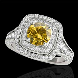 2 CTW Certified SI/I Fancy Intense Yellow Diamond Solitaire Halo Ring 10K White Gold - REF-209V3Y -